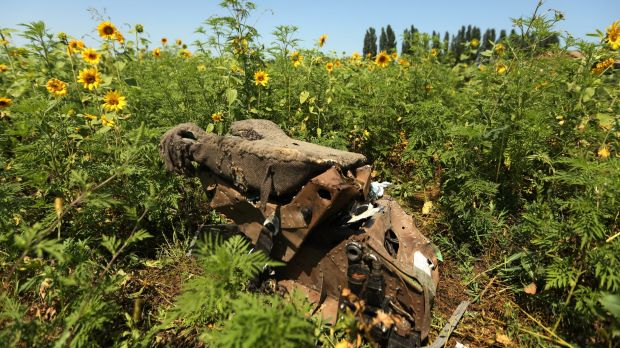Wreckage of the MH17 in a field in eastern Ukraine.