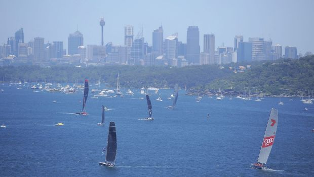 Yachts Sydney Harbour prior to the start of the 2014 Sydney To Hobart yacht race.