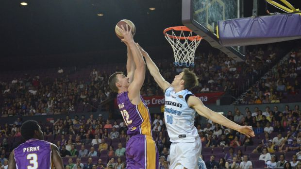 The air up there: Sydney's Angus Brandt attempts a dunk over Tom Abercrombie.