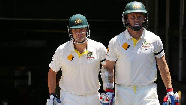 Strong stand: Shane Watson and Chris Rogers shared a partnership of 115 for the first wicket.
