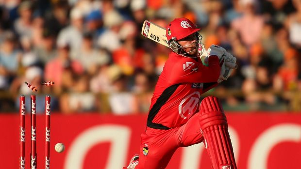 Aaron Finch is bowled by Ashton Agar in Friday's match against the Scorchers.