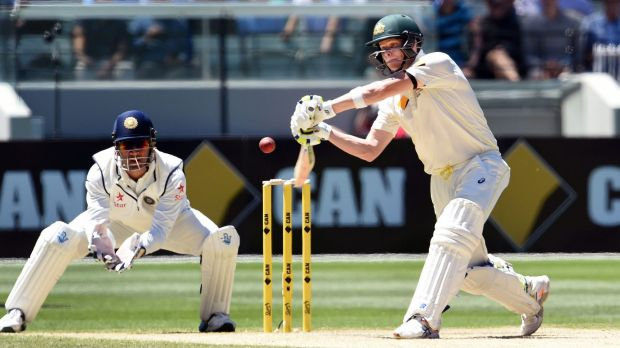 In superb touch: Steve Smith blasts India on Saturday.