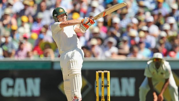 Hooking in: Brad Haddin bats during day two of the third Test between Australia and India at the Melbourne Cricket Ground.