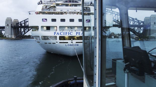 The view from the tugboat Bullura as it towed the Pacific Pearl into Sydney Harbour on Saturday morning.