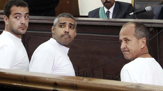From left, jailed journalists Baher Mohamed, Mohamed Fahmy and Peter Greste in a Cairo court in March 2014.