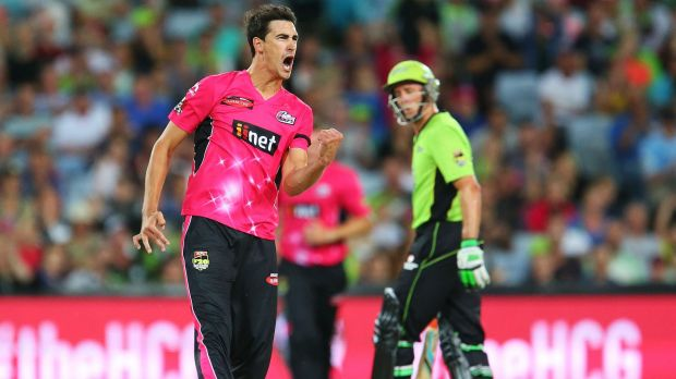 Hitting back: Mitchell Starc celebrates after uprooting Jacques Kallis's stumps during the BBL match at ANZ Stadium on ...