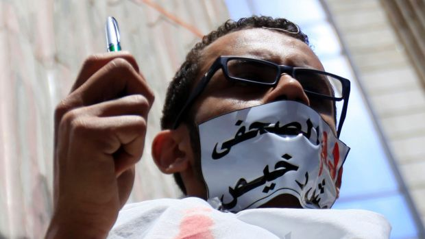 A journalist during a protest against the targeting of journalists in Cairo in April.