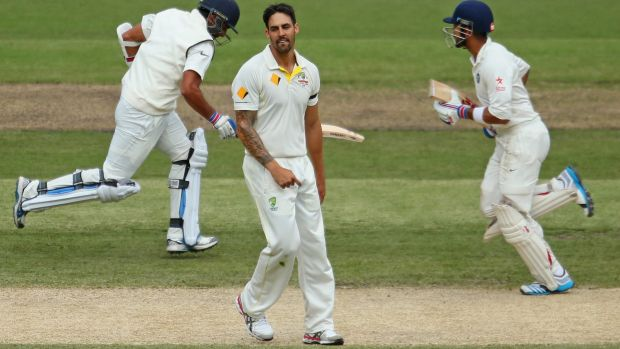 Stoking the fire: Mitchell Johnson was frustrated by Virat Kohli and Ajinkya Rahane.