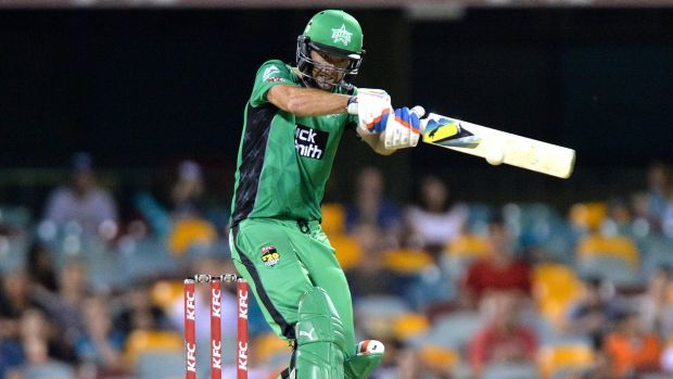 Rob Quiney, who almost won the match for Melbourne Stars, plays a crossbat shot for a boundary.