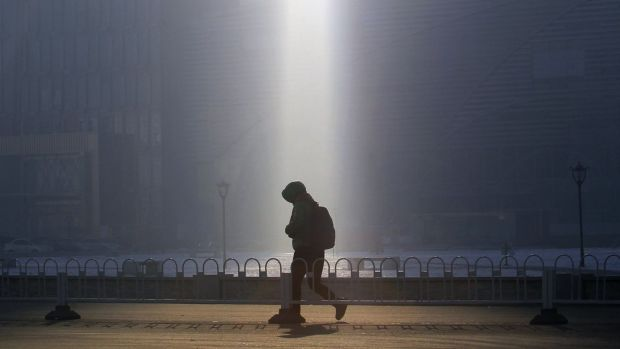 Heavy smog in Shenyang, China, a common feature of many big cities in the country..