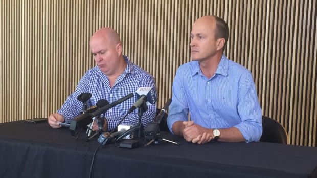 Mike and Andrew Greste at a media conference marking one year since their brother, journalist Peter Greste, was ...