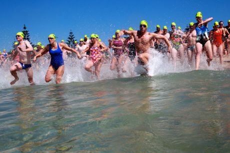 Taking the plunge: This year's Coogee Island Challenge.