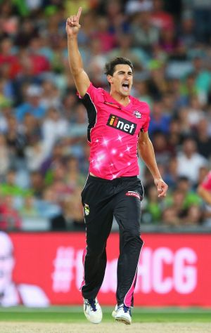 Fired up: Sixers star Mitchell Starc.