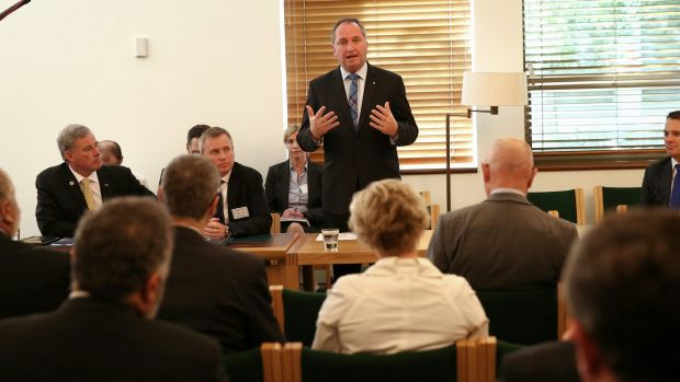 Barnaby Joyce hosts the National Water Infrastructure Roundtable at Parliament House in October.