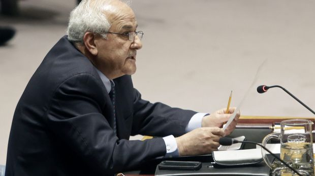Palestinian Ambassador to the United Nations Riyad Mansour during the UN Security Council meeting.