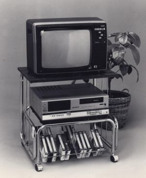 Heady stuff back in its day: Entertainment corner centered on the video machine circa 1984.