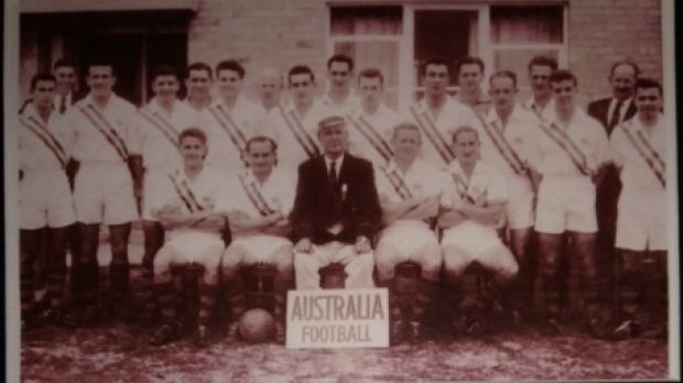 Col Kitching (standing, eighth in from the left) in the 1956 Melbourne Olympics national football team.