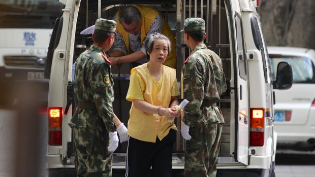Charlotte Chou is released from Guangzhou No.1 Detention Centre last Saturday.