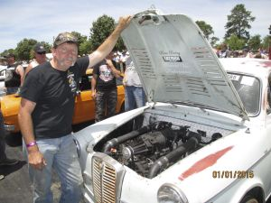 Paul Mulcahy with his Austin Lancer took part in the Summernats world record burnout.