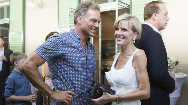 """Sixty is the new 40"": Julie Bishop with her partner, David Panton, at a reception hosted by the Prime Minister for the ..."