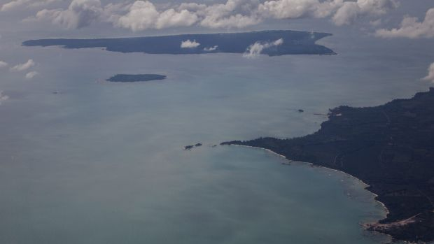Site: An aerial view of Belitung, the search area for the missing plane.