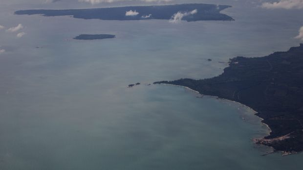 An aerial view of Belitung, the search area for the missing plane.