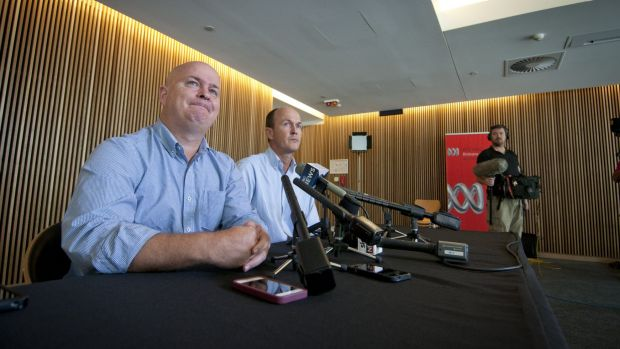 Mike and Andrew Greste speak to the media in Brisbane on Friday.