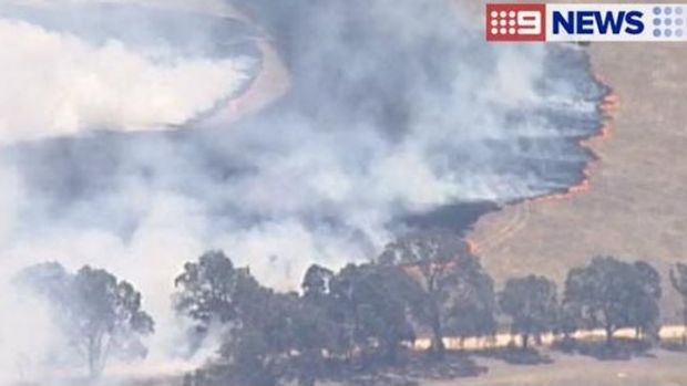 The grassfire is moving in a south-easterly direction towards Moyston.
