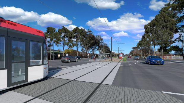 An artist's impression of Canberra's proposed light rail.