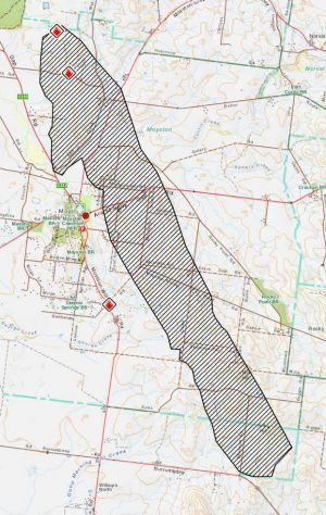 A CFA map showing the approximate area burnt by fire near Moyston.