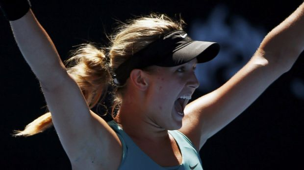 Eugenie Bouchard defeats Ana Ivanovic at the 2014 Australian Open.