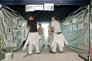 Healthcare workers complete predeployment training in Canberra to prepare them for working in West Africa as part of ...