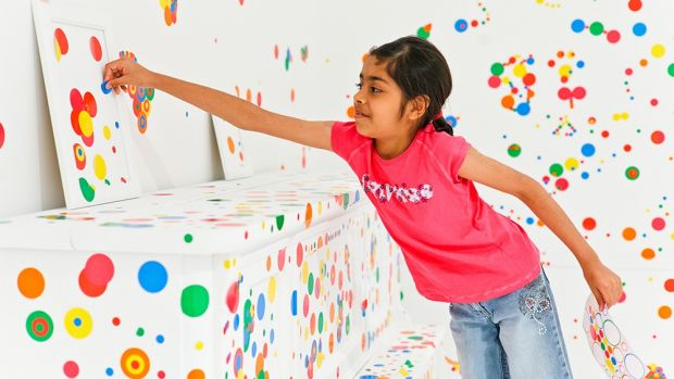 Colour everywhere in the Obliteration Room at GOMA, Brisbane.