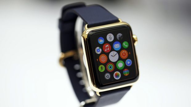 A new Apple Watch is seen during an Apple event in California in September. The product will include a fitness tracker, ...
