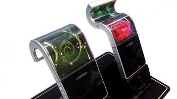 A prototype of Samsung's bendable smart phone.