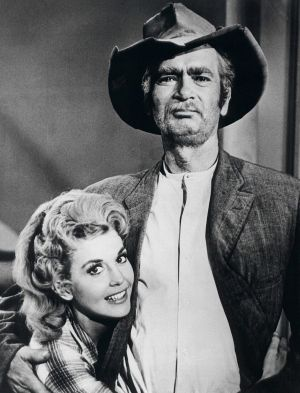 Donna Douglas (Elly May) with Buddy Ebsen (Jed Clampett).