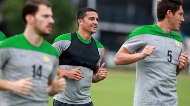 Hot hosts: The Socceroos train in Melbourne.