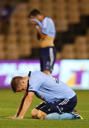 Chance spurred: Sydney FC's Marc Janko shows his dejection at his side's 0-0 draw with the Newcastle Jets.