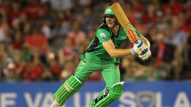 Luke Wright, who top-scored for the Stars, plays a ball into the covers.