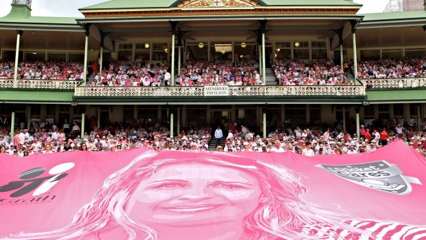 Jane McGrath day at the Sydney Cricket Ground in 2014 as the Jane McGrath silk is laid out in front of the Members stand.