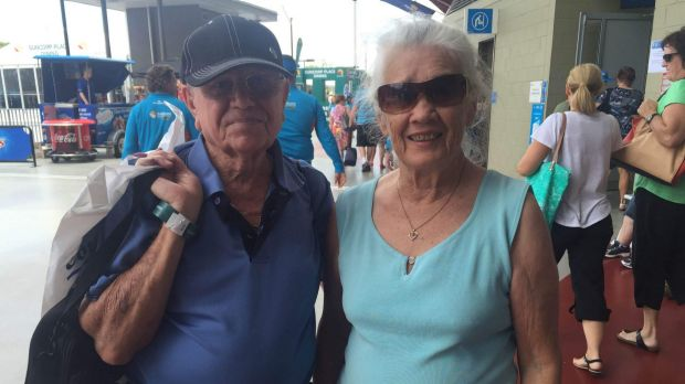 Barrie and Val Smith soak up the atmosphere at the Brisbane International.
