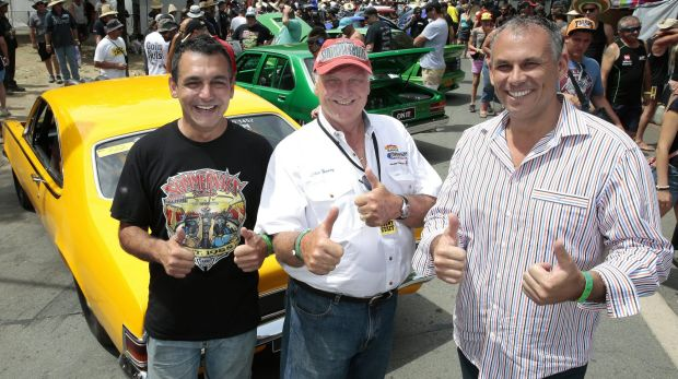 Summernats co-owner Andy Lopez, left, event founder Chic Henry and Northern Territory Chief Minister Adam Giles among ...