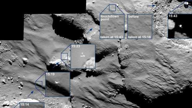 A series of images captured by the Rosetta orbiter showing the descent of the lander Philae on the comet in November.