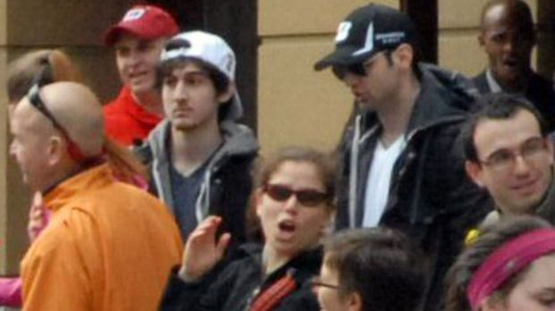 A photo shows the two accused bombers, brothers Dzokhar (left, in white cap) and Tamerlan (right, in black cap) Tsarnaev ...