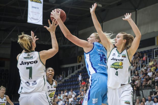 Lauren Jackson of the Canberra Capitals drives at the net.