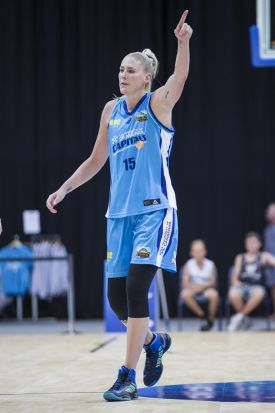 Lauren Jackson of the Canberra Capitals giving directions to the team.