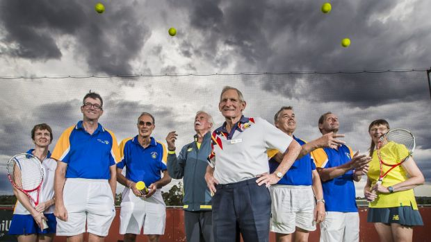 Australian Masters Tennis Championships at the National Hockey Centre in Lyneham. From left Linda Culcutt, 46, Tim ...