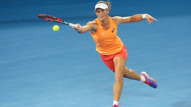 Sam Stosur plays a forehand in her first-round match against Varvara Lepchenko.
