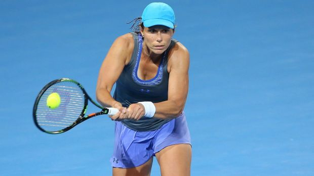 Varvara Lepchenko of the USA plays a backhand in her match against Sam Stosur.
