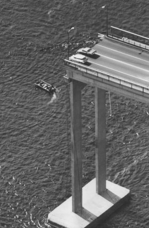 Two cars that nearly plummeted into the Derwent River.